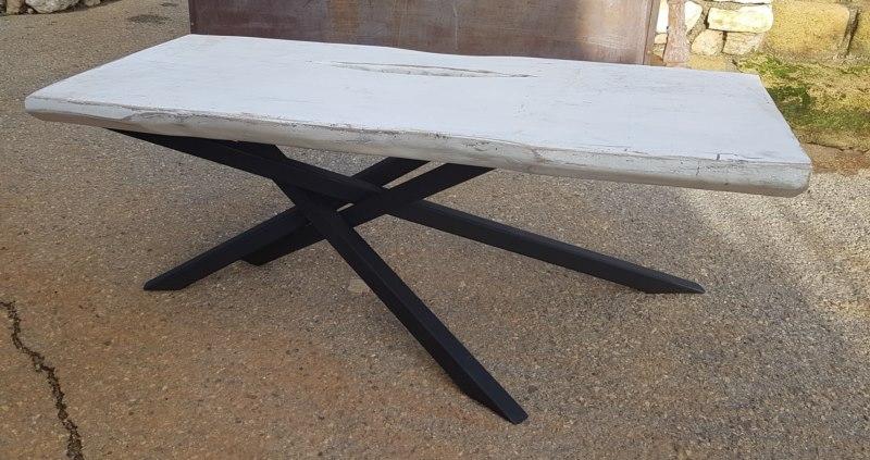 Table basse en tube 40x40 et plateau bois